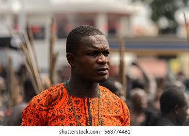 KUMASI, GHANA - JAN 16, 2017: Unidentified Ghanaian people in black clothes at the memorial ceremony dedicated to the Queen mother of the Asante kingdom