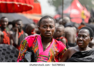 KUMASI, GHANA - JAN 16, 2017: Unidentified Kumasi inhabitant visits  the memorial ceremony dedicated to the Queen mother of the Asante kingdom, who died on Nov 14, 2016 at the age of 111
