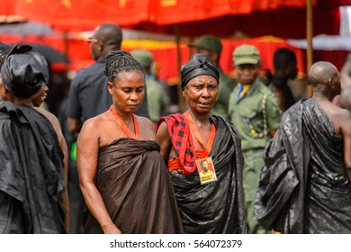 KUMASI, GHANA - JAN 16, 2017: Unidentified Ghanaian women in black clothes at the memorial ceremony dedicated to the Queen mother of the Asante kingdom, who died on Nov 14, 2016 at the age of 111