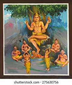 KUMBAKONAM, INDIA - OCTOBER 12, 2013: Mahalingeswarar Temple. Painting on the ceiling of the open hall, walkway to the inner sanctum. Dhakshinamoorthy. Lord Shiva as the teacher conquering ignorance.