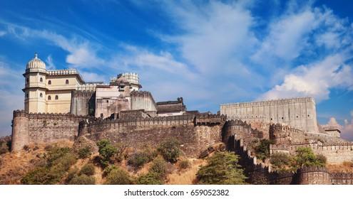 Kumbhalgarh fort day panorama. Rajasthan, India
