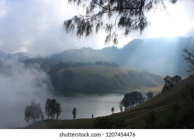 Kumbolo Lake, Great Lake in Semeru Mountain, Indonesia