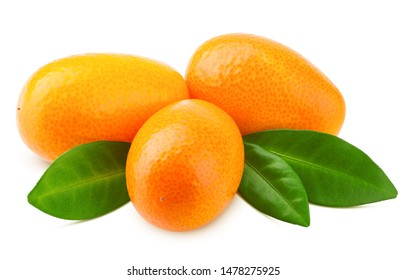 kumquat isolated on white background, clipping path, full depth of field
