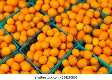 Kumquats in baskets