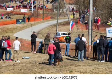 KUMROVEC, CROATIA - MARCH 4, 2017: 6th INA Rally Kumrovec. Andrej Mrak - Ales Presetnik / AK Modri Dirkac / Zastava 850