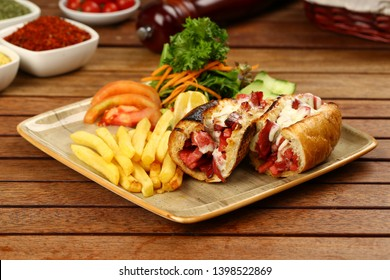 Kumru Sandwich - İngredients with sliced sausage, ham, cheddar cheese, melting kasar and pickles