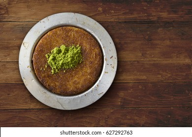 Kunafeh traditional turkish dessert on table top view