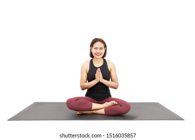 Kundalini Yoga, Asian women are training Yoga pose for Exercises, Healthy Concept Isolated on White Background.