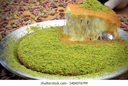 kunefe called turkish cheese pistachio dessert