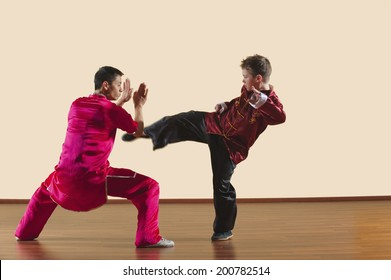 Kung Fu, Changquan, Duilian, Long Fist Style, Kung Fu instructor and boy