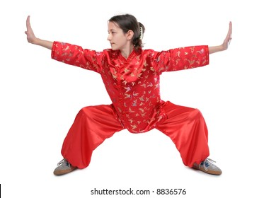 Kung fu girl low stance