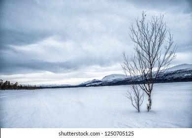 Kungsleden hiking trail in northern Sweden in the wintertime