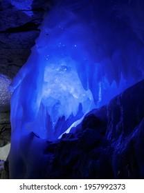 Kungur, Russia - December 9, 2020. Kungur Ice Cave.