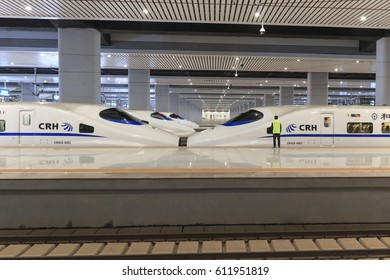 Kunming, China - March 29, 2017:Close up of a Chinese fast train inside the newly opened high speed train station in Kunming.The new fast train station links Kunming to Beijing, Shanghai and Guangzhou