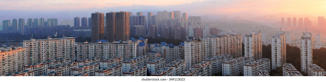KUNMING, CHINA - NOVEMBER 11: New Construction on the outskirts of China's major cities, November 11, 2015, Kunming, China. China's economic boom leaves a trail of ghost cities.