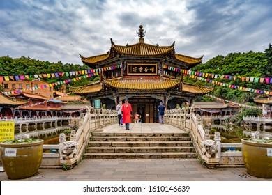 Kunming, China-August 13, 2019 : Yuantong Temple in Kunming, Yunnan