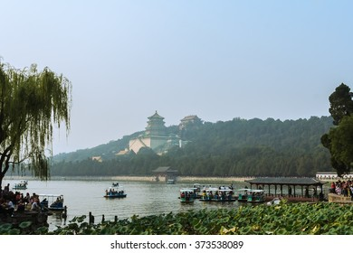 Kunming Lake, Beijing, China, Summer Palace in background
