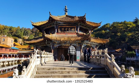 Kunming, Yunnan, China - November, 2018. View of the Yuantong Temple, the most famous Buddhist temple in Kunming, Yunnan, China