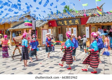 Kunming,China - April 9,2017 :Scenic view of the traditional performance by local people in Yunnan Nationalities Village which is located at Kunming,China