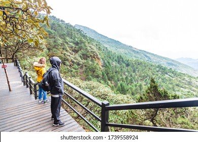 KUNMING,CHINA-OCTOBER 26,2019: Tourist at the viewpoint of Jiaozi snow Mountain Tourist attractions of Yunnan with beautiful nature