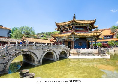 Kunming,Yunnan - April 8,2017 :Yuantong Temple is the most famous Buddhist temple in Kunming, Yunnan province, China. People can be seen exploring around it.