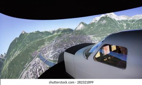 KUNOVICE, CZECH REPUBLIC - MAY 15 2015. Piper Meridian flight simulator cockpit at Kunovice.