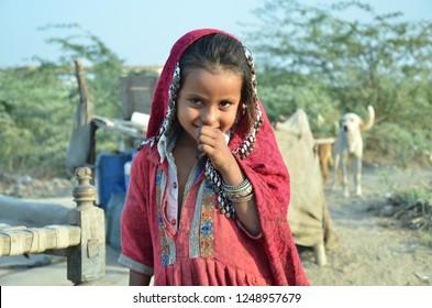 Kunri, Sindh/Pakista - Dec 04. 2018 : Sindhi Girls in Colorful dress at Kunri, Sindh Pakistan