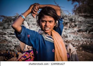Kunri,Sindh/pakistan-12/04/2018: Sindhi Girl In Happy Mood at Kunri Sindh Pakistan
