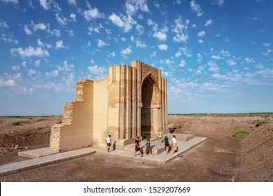 Kunya Urgench, Turkmenistan - July 8th 2019 - Tourists exploring the temples of Urgench, the old capital of the Khorezm region, part of the Achaemenid Empire.