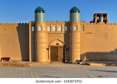 Kunya-Ark Citadel in Khiva, Khorezm Region, Uzbekistan. According to historical evidence, in 1686, Arang-khan began the construction of the citadel Kunya-ark at the western gates of Ichan-kala.