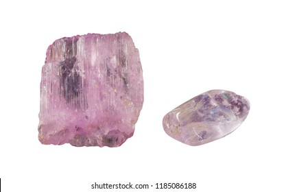Kunzite gemstone isolated on white background. Pink spodumene mineral consisting of lithium aluminium inosilicate crystals close up