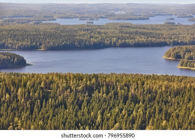 Kuopio area in Finland. Island, forest lake. Finnish landscape. Horizontal