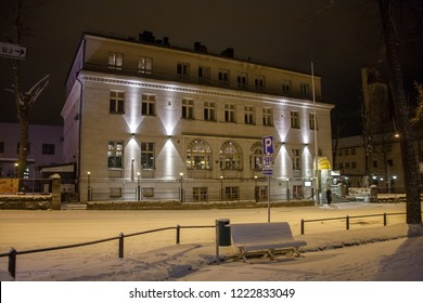 Kuopio center Finland, in winter time in the evening with some snow