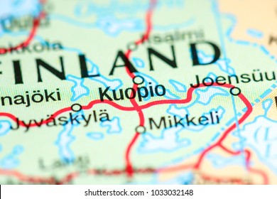 Kuopio. Finland on a map