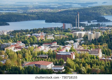KUOPIO, FINLAND - SEPTEMBER 05, 2012: View to the city from the Puijo tower in Kuopio, Finland.