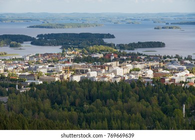 KUOPIO, FINLAND - SEPTEMBER 05, 2012: View to the city and surrounding lakes from the Puijo tower in Kuopio, Finland.