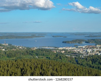 Kuopio landscape from the tower at summer sunny day