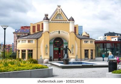 Kuopio, Northern Savonia, Finland, June 16, 2015: Kuopio City Hall (Kauppa Halli)  is main building on square.