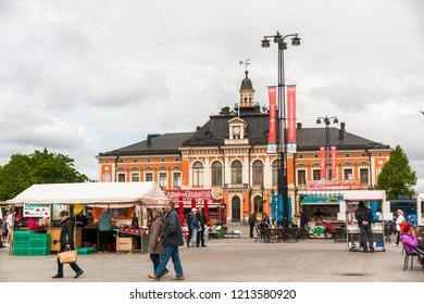 Kuopio, Northern Savonia, Finland, June 16, 2015: Town Hall and central square in summer