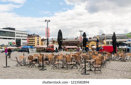 Kuopio, Northern Savonia, Finland, June 16, 2015: central square in summer