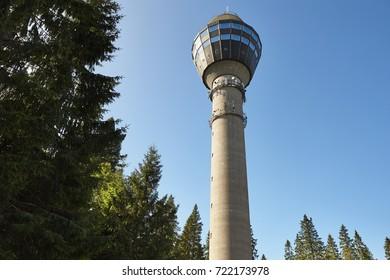 Kuopio viewpoint tower. Finland cityscape landmark. Travel background. Horizontal