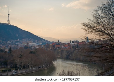 The Kura River flows through the city of Tbilisi. City landscape. - Shutterstock ID 1997067137