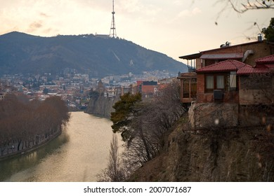 The Kura River flows through the city of Tbilisi. City landscape. - Shutterstock ID 2007071687