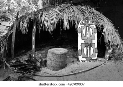 KURANDA, AUS - APR 16 2016:An outdoor traditional hut of Native Australian from the Yirrganydji Aboriginal people in Queensland, Australia.