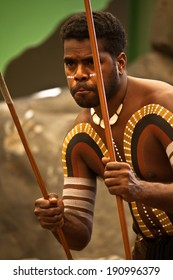 KURANDA, AUSTRALIA - APRIL 18: unidentified aborigines actor at a  performance in the Tjapukai Culture Park on April 18, 2009 in Kuranda, Queensland, Australia