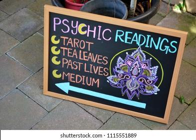 Kuranda, Queensland, Australia, June 18th 2018, Psychic readings sign