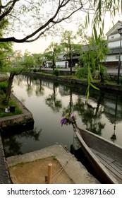 Kurashiki Canal in the old city of Okayama city, Japan