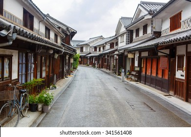 Kurashiki city. The preservative city of Okayama prefecture. Japan. Beautiful japanese old town with typical streets and architecture.