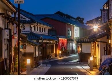 Kurashiki, Japan- May 27, 2018: old historical street in Kurashiki at night