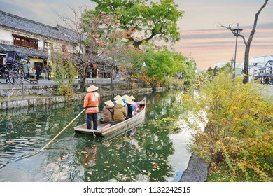 KURASHIKI, JAPAN - November 19, 2017: Traditional Boat Service Tour of Kurashiki Canal of Kurashiki, Japan.